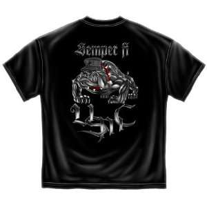 Usmc Marines T Shirt Semper Fi Chrome Bulldog Medium