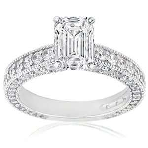 85 Ct Emerald Cut Diamond Engagement Ring In Pave 14K SI1 F IGI CUT