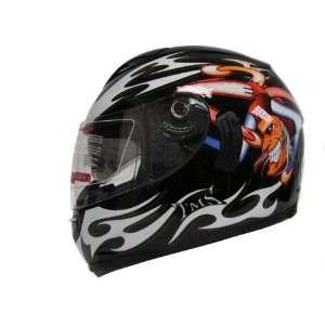 TMS Joker Black Dual Visor Full Face Motorcycle Helmet Dot