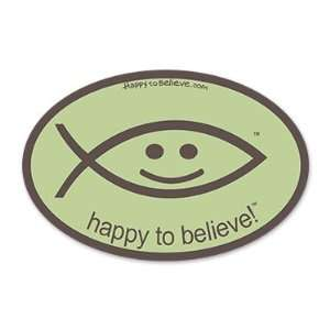 Happy to Believe Christian Fish Euro Sticker (Driftwood
