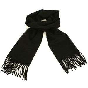 Mens Winter Ski Soft Cashmere Feel Scarf Solid Black