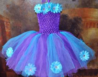 tutu dress headband bow baby & girl purple/turquoise