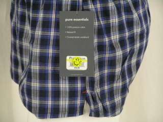Perry Ellis Relaxed Fit 100% Cotton Boxer Shorts Underwear BLUE Plaid