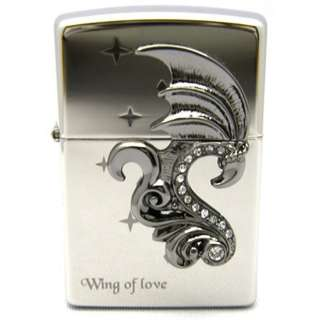 NEW JAPAN ZIPPO LIGHTER WING OF LOVE NICKEL PLATED