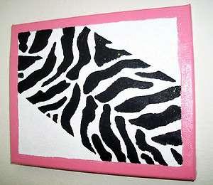 Black & White Zebra Print Wall Plaque Light Pink Trim Pulled Canvas