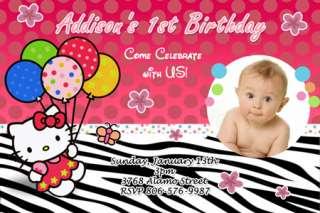 HELLO KITTY ZEBRA BIRTHDAY PARTY INVITATION 1ST BABY SHOWER CARD
