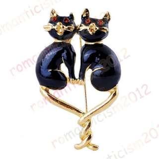 FREE black Cat Brooch Pin W Czech rhinestone crystals