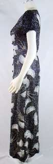Vintage 70s ALFRED SHAHEEN Black Lurex Cocktail Dress S