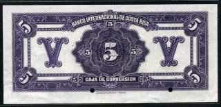 Costa Rica 1925 1928, 5 Colones, Specimen, P185, AU UNC