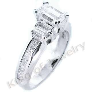 97 Ct. Emerald Cut Diamond Solitaire Ring w/ Accents
