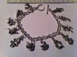 Sterling Silver 12 days of Christmas Charm Bracelet