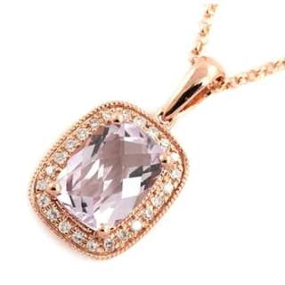 14K ROSE GOLD PINK AMETHYST & DIAMONDS PENDANT NECKLACE