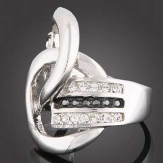 Stylish 18k white Gold GP Swarovski crystal ring 1547