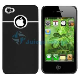White +Black Hard Large Dot Chrome Skin Case For iPhone 4 4S 4G S