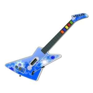 Retro Blue Flowers Design Guitar Hero X plorer Guitar