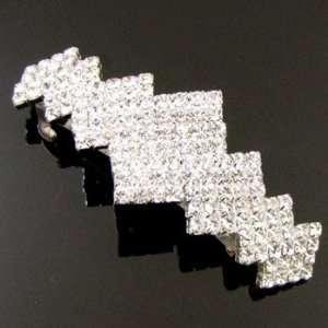 Bridal Prom Silver Plated Crystal Rhinestone Hair Barrette Clip 05