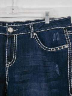 LA Idol Bootcut Jeans Emboridery Crown Crystal Stretch.17,19,21