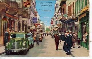 1940s CARS GIBRALTER DOWNTOWN STREET SCENE POSTCARD