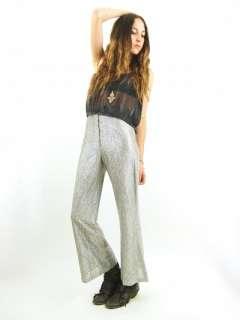 Silver METALLIC High Waist BELL BOTTOM Rocker Goth Glam Pants S