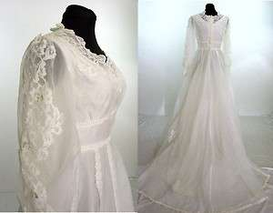 1970s white wedding dress gown empire waist lace beads
