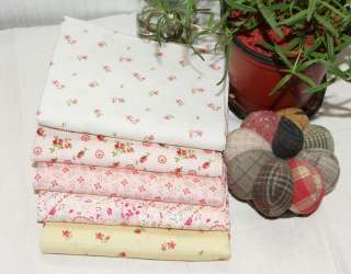 Romantic Pink &Yellow 5 Different Quilt Fabric Bundle