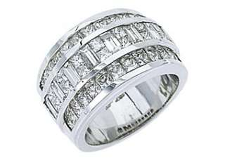 MENS 3.38 CARAT PRINCESS BAGUETTE CUT DIAMOND RING WEDDING BAND 18KT