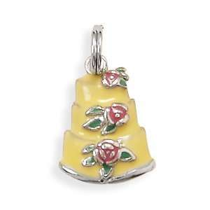 Silver Charm Pendant Three Tier Wedding Cake Yellow Pink Green Enamel
