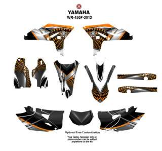 Yamaha WR 450F 2012 Motocycle Graphic decal kit 7777 Orange