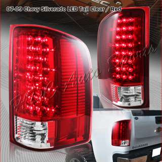 2007 2011 CHEVY SILVERADO 1500 2500 3500 LED RED/CLEAR TAIL LIGHTS
