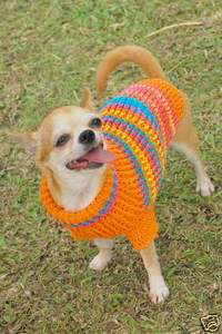 XXS XS Hand Crochet Dog Cat Puppy Pet Dress Sweater Turtle Neck D816