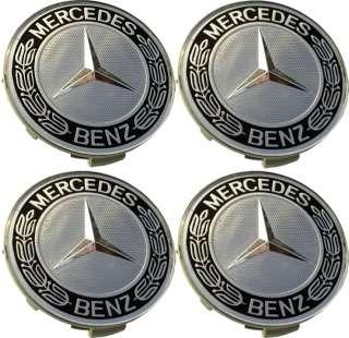 Mercedes benz blue amg wheel center caps c300 c320 c280 for Mercedes benz black center caps