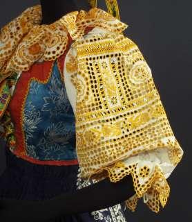 SLOVAK FOLK COSTUME embroidered bonnet cap blouse apron skirt vest