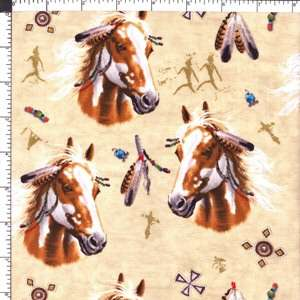 Native American Indian Horses Cotton Fabric 1yard WOW!
