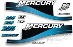 Mercury 225hp outboard decals stickers graphics Blue