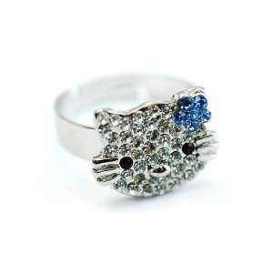 Pave Rhinestone Face Head Silver Plated Adjustable Band Ring Jewelry