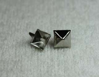 9mm (3/8) Silver Pyramid Studs Spots Punk Rock Biker Spikes WST 21