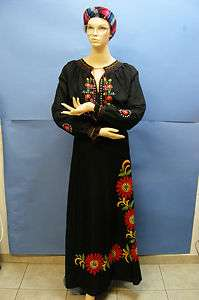 Vtg S America MEXICAN H Embroidered Black Floral Wrap Cover Up Maxi