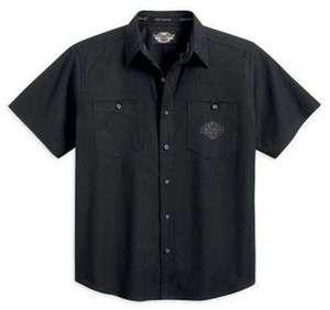 Mens Harley Davidson S/S Printed Skull Woven Shirt 96517 12VM