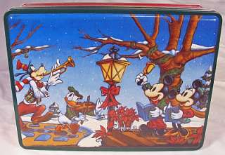 Cookie Tin w Mickey & Minnie Mouse, Goofy & Donald Duck