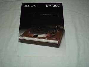 DENON DP 30L Direct Drive Record Player Original Catalog Brochure X
