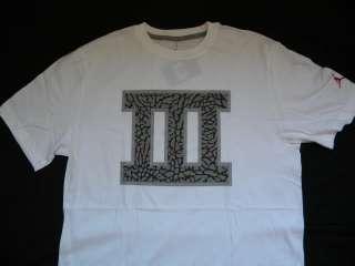 NIKE JORDAN RETRO 3 ROMAN NUMERAL III WHITE T SHIRT L 466511   100