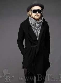 Black Super Punk Style UK Fashion Woollen Cloth Mens Overcoat 4 size