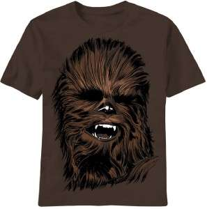 Star Wars Chewbacca Head Chewy Wookie Brown Tee Shirt Sizes S 2XL