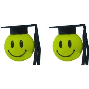Happy Smiley Face Graduation Hat Car Truck SUV Antenna