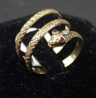 Victorian 22k Coiled Snake Ring Yellow Gold Ruby Eyes Diamond on Head