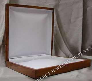 White Leather Oak Wood Veneer Jewelry Necklace Gift Box