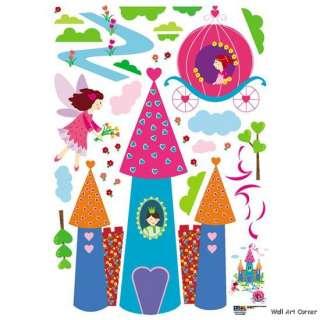 Princess Castle Girl Pink Mural Wall Art Sticker Decals