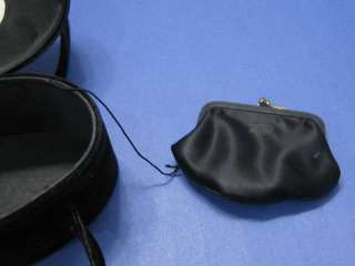 vtg 40s Black Velvet Oval Box Purse