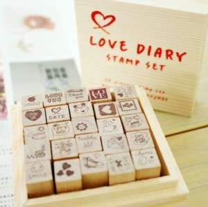 Decorative Stamps About Love 25pcs in wooden box