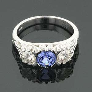 CT 14KW MOISSANITE SAPPHIRE ANTIQUE SCROLL RING